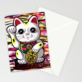 Maneki Neko lucky fortune beckoning japanese waving feng shui kitty for wealth gold moderngift Stationery Cards