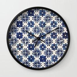 Vintage Blue Ceramic Tiles Wall Clock