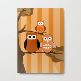 Orange Owls Metal Print