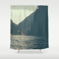 diablo Shower Curtains featuring The darkness of Diablo Lake by jordanwlee.com