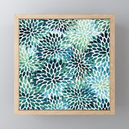 Floral Watercolor, Navy, Blue Teal, Abstract Watercolor Framed Mini Art Print