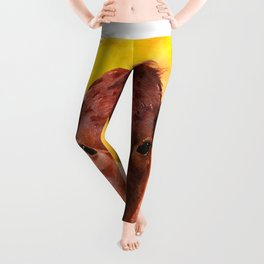 Cow close up watercolor painting #1 Leggings