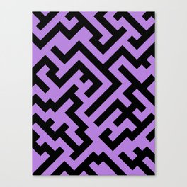 Black and Lavender Violet Diagonal Labyrinth Canvas Print