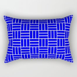 Basketweave (White & Blue Pattern) Rectangular Pillow