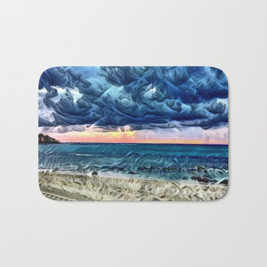 Pastel Sunset on the Beach of the Pacific Ocean Bath Mat