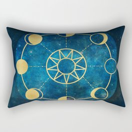 Gold Moon Phases Sun Stars Night Sky Navy Blue Rectangular Pillow