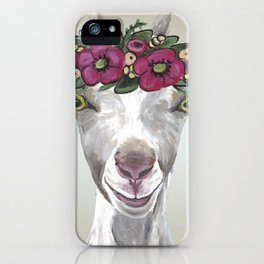 Flower Crown Goat Tan, Cute Goat Painting iPhone Case