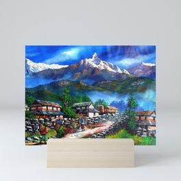 Panoramic View Of Everest Mountain Mini Art Print