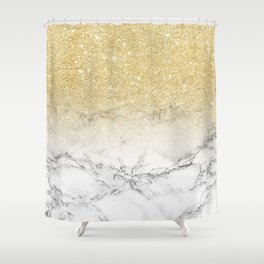 Modern faux gold glitter white marble color block Shower Curtain