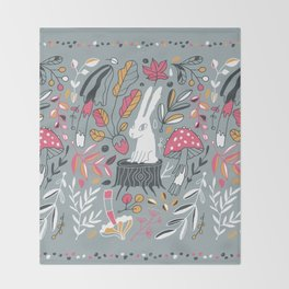 Botanical blockprint bunny Throw Blanket