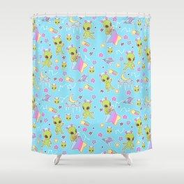 Fairy Kei Aliens on Blue Shower Curtain