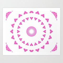 PINK HEART MANDALA Art Print
