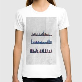 Chicago, New York City, And Los Angeles City Skylines T-shirt