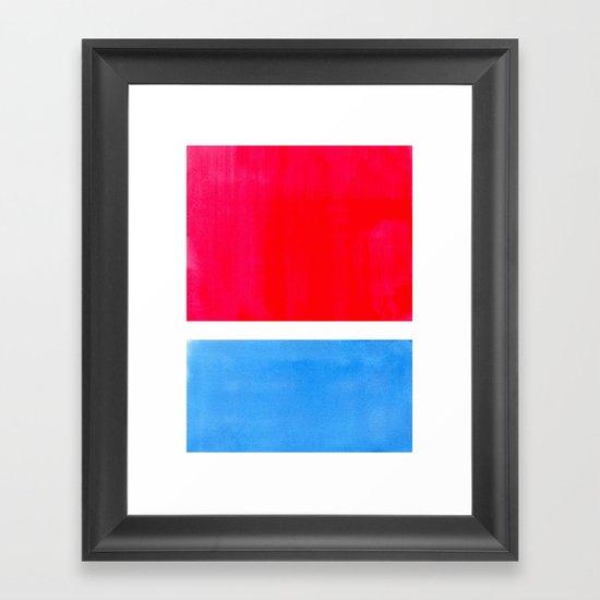 Colorful Bright Minimalist Rothko Midcentury Modern Art Vintage Pop Art Neon Red Cerulean Blue by enshape