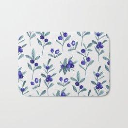 Modern watercolor blue berries fruit floral pattern Bath Mat