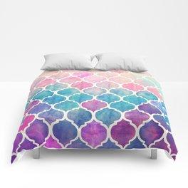 Rainbow Pastel Watercolor Moroccan Pattern Comforters