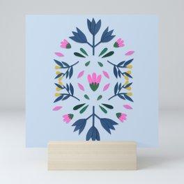 blue folk Mini Art Print
