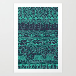 Mountain Tapestry in Midnight Teal Art Print
