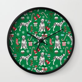 Dalmatian dog breed christmas holiday presents candy canes dalmatians dogs Wall Clock