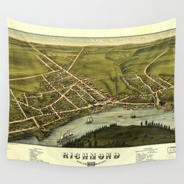 Aerial View of Richmond, Maine (1878) Wall Tapestry