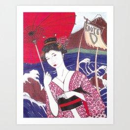 Geisha Bus Stop Art Print