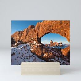 Turret Arch in Snow / Moab, Utah Mini Art Print