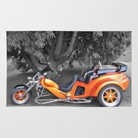 motorbike Area & Throw Rugs featuring Three-wheeled Motorbike by Lynn Bolt