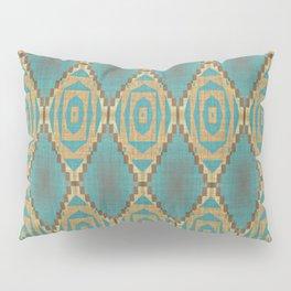 Teal Turquoise Khaki Brown Rustic Mosaic Pattern Pillow Sham