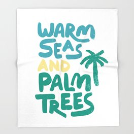Warm Seas and Palm Trees Vintage Throw Blanket