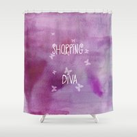 shopping Shower Curtains featuring Shopping Diva by Judith Lee Folde Photography & Art