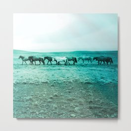walking horse herd turquoise aesthetic wildlife art altered photography Metal Print
