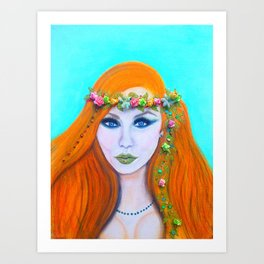 Redhead Poison Ivy Goddess Art Print