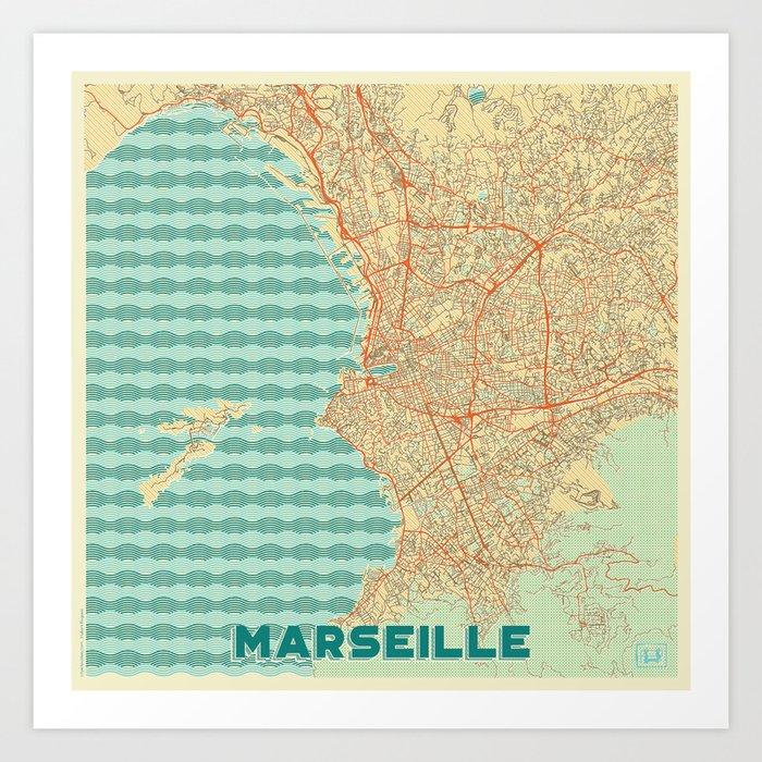 Marseille Map Retro Kunstdrucke
