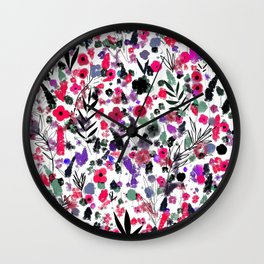 Flowers Nature drawing pink Black Green art Wall Clock