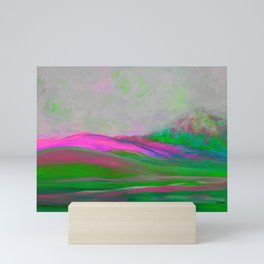 Clouds Rolling In Abstract Landscape Pink Mini Art Print