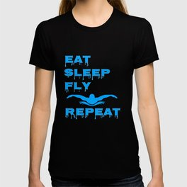 Eat Sleep Fly Repeat Swimming Butterfly T-shirt