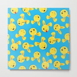 Cute Little Easter Bunny Faces Metal Print
