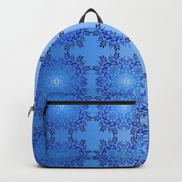 Baroque style floral blue pattern . Backpack