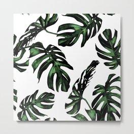 Tropical Green Palm Leaves Metal Print