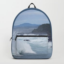 Crashing Waves In Blue Backpack