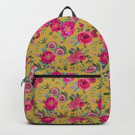 Mustard yellow floral autumn / fall flowers and berries Backpack