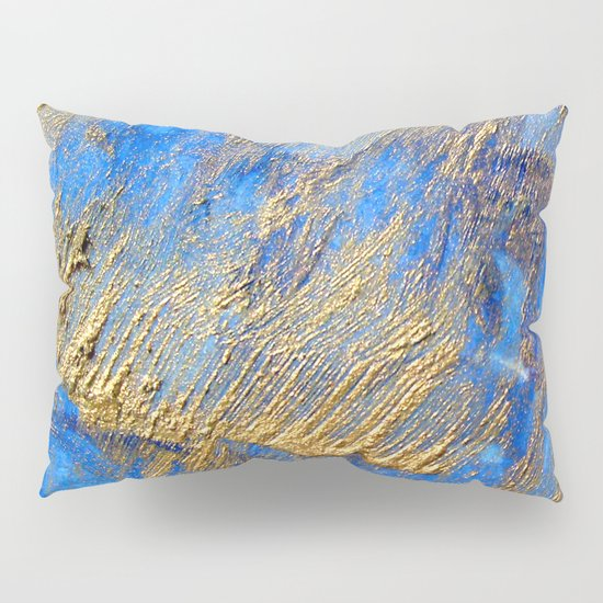Blue and gold pillow sham by haroulita society6 for Blue and gold pillows
