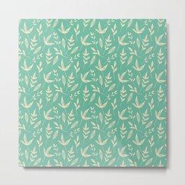Green Sketchy Leaf Pattern Metal Print