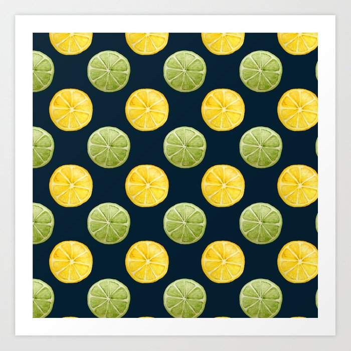 Watercolor Lemon Lime Pattern Art Print
