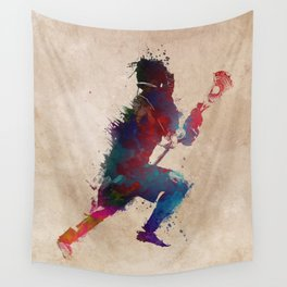 Lacrosse player art 1 Wall Tapestry