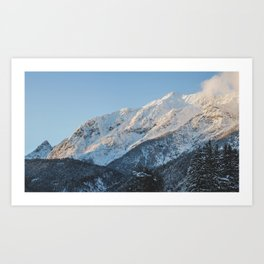 Snow on the mountains. Art Print