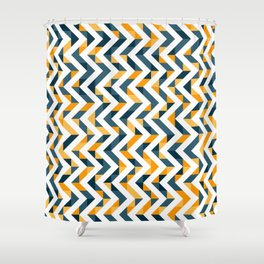 Chevron Oranges and Ink - Geometric Pattern Shower Curtain