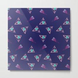Funky Triangles (Blue) Metal Print