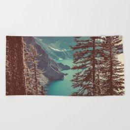 Vintage Blue Crater Lake and Trees - Nature Photography Beach Towel
