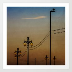 Streetlights At Dusk Art Print